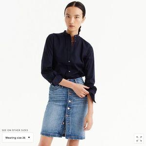 J.Crew Button-front denim skirt-H7058-ASTER WASH